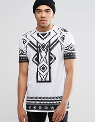 Asos Longline T Shirt With Monochrome Geo Tribal And Number Back Print In White White