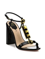 Fendi Studded Patent Leather T Strap Sandals