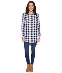 Jag Jeans Magnolia Tunic In Rayon Plaid Sailor Plaid Women's Blouse White