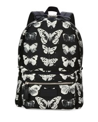 Alexander Mcqueen Moth Print Backpack Black Ivory