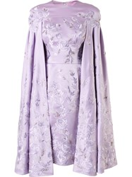 Divina Embroidered Cape Dress Pink Purple