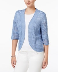 Jm Collection Petite Cropped Crochet Cardigan Only At Macy's Gentle Blue