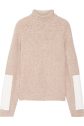 Victoria Beckham Faux Leather Trimmed Wool Turtleneck Sweater Cream