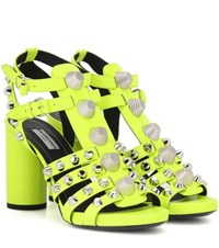 Balenciaga Arena Leather Sandals Yellow