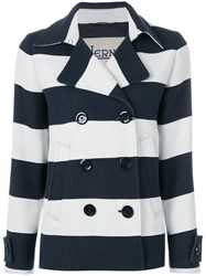 Herno Striped Double Breasted Jacket Blue
