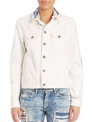 Tortoise Steppe Distressed Denim Jacket White With Quilted Indigo Patch