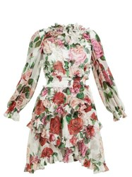 Dolce And Gabbana Rose Print Silk Chiffon Ruffled Mini Dress White Multi