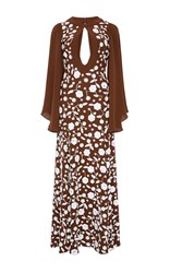 Michael Kors Keyhole Embroidered Gown Brown White