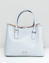 Aldo Soft Tote Shopper Bag With Front Tab Detail Light Blue Blush