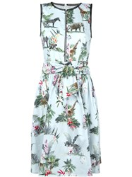 Marc Cain Belted Tropical Print Dress Blue