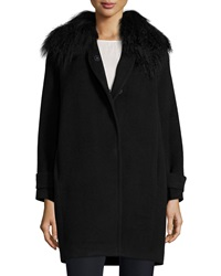 Rebecca Taylor Fur Trim Wool Coat Black