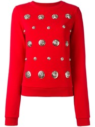 Versus Lion Studded Sweatshirt Red