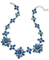 Charter Club Gold Tone Blue Crystal Statement Geometric Bib Necklace Only At Macy's