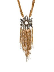 Erickson Beamon War Of The Roses Swarovski Crystal Fringe Necklace Gold
