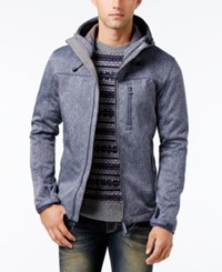 Superdry Men's Windtrekker Soft Shell Hooded Coat Navy Grit Light Charcoal