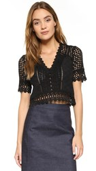 Rebecca Taylor Short Sleeve Lace Crochet Blouse Black