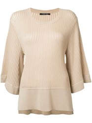 Derek Lam Ribbed Flared Jumper Nude Neutrals