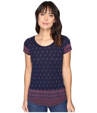 Lucky Brand Jaibur Block Tee Navy Multi Women's T Shirt Blue