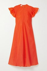 Beaufille Dorado Ruffled Stretch Crepe Midi Dress Bright Orange