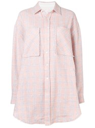 Faith Connexion Oversized Check Shirt Pink