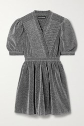 House Of Holland Pintucked Lurex Mini Dress Silver