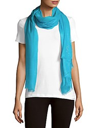 Yves Saint Laurent Fringed Solid Scarf Sky Blue