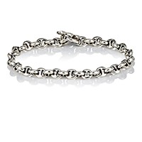 Hoorsenbuhs Men's Diamond And Silver 'H' Chain Link Bracelet Silver