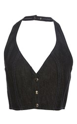 Tome Denim Halter Bustier Top Black