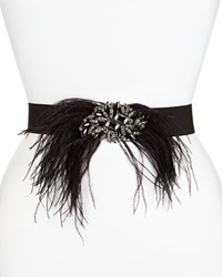 Deborah Drattell Lucia Stretch Belt W Jeweled Feather Pin