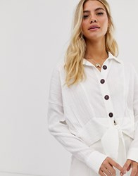 Moon River Tie Front Blouse White