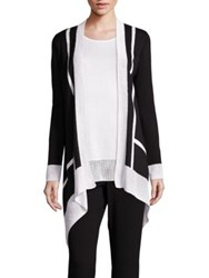 St. John Sport Collection Crochet Border Cardigan Caviar Bianco Multi