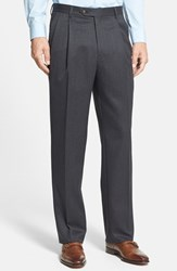 Men's Big And Tall Berle Pleated Wool Gabardine Trousers Charcoal