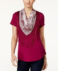 Styleandco. Style Co. T Shirt With Fringe Scarf Only At Macy's Magenta Blossom