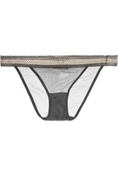 Elle Macpherson Body Crisp Lurex Trimmed Stretch Mesh Briefs Dark Gray