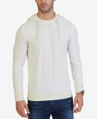 Nautica Men's Slim Fit Striped Hoodie Bone White