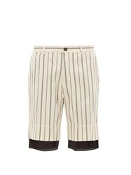 Ann Demeulemeester Striped Double Layer Satin Shorts Black White