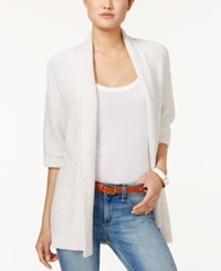 Tommy Hilfiger Three Quarter Sleeve Open Front Cardigan Khaki White