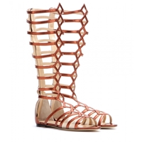 Charlotte Olympia Maya Metallic Leather Gladiator Sandals Terracotta