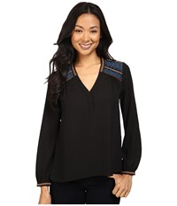 Nydj Petite Embroidered Blouse Black Women's Blouse