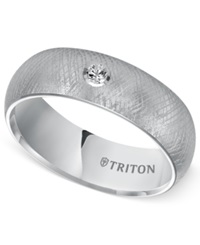 Triton Men's White Tungsten Carbide Ring Diamond Accent Comfort Fit Wedding Band