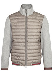 Moncler Grey Cotton And Quilted Shell Jacket