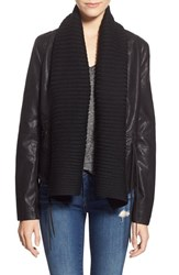 Blank Nyc Women's Blanknyc Faux Leather Knit Collar Open Jacket