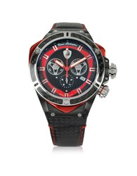 Lamborghini Tonino Watches Black Stainless Steel And Carbon Fiber Spyder Chronograph Watch