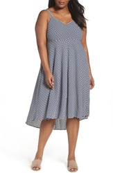 Taylor Dresses Plus Size Women's Stripe Midi Sundress Navy Cream