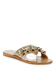 Saks Fifth Avenue Leather Ruffle Sandals Gold