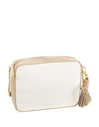 Kenneth Cole Dover Street Leather Crossbody Bag White Buff