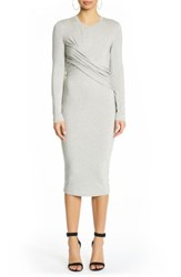 Kendall Kylie Women's Long Sleeve Twist Dress Medium Heather Grey