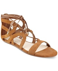 Marc Fisher Kapre Lace Up Ankle Tie Gladiator Sandals Women's Shoes Medium Brown Suede