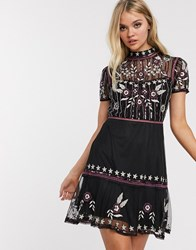 Frock And Frill Short Sleeve Embroidered Skater Dress Black