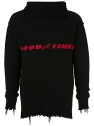 Ground Zero Distressed Intarsia Knit Jumper Black